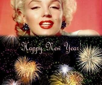 cartão natal saudou o novo ano em ingles inserir uma foto em cima um ceu noturno cheio fogos artificio