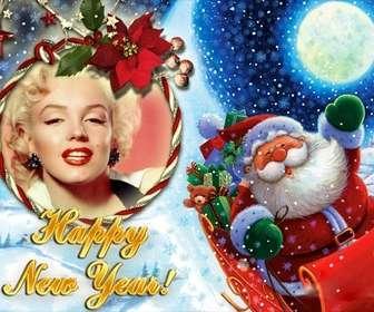 fotomontagem colocar sua foto em uma moldura redonda com forma laco em o papai noel felicita o novo ano