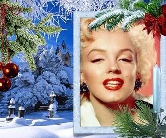 cartão natal com sua foto em um quadro retangular branco