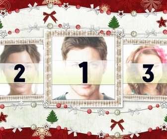 Cartão de Natal para três fotos e enfeites de Natal.