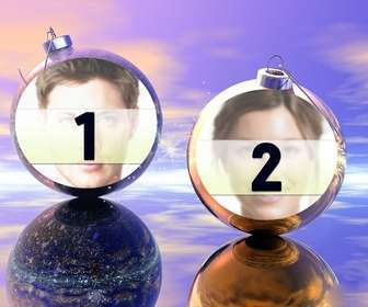 montagem divertido de Natal onde você pode colocar duas fotos nas bolas de Natal. Ideal para ser enviada como uma saudação de nadal.
