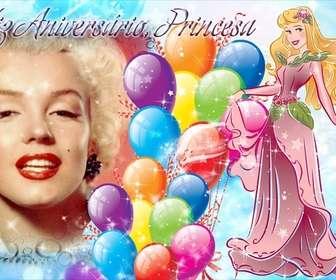 foto montagem criar um cartão postal felicitar o aniversario da princesa da casa