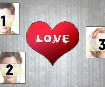 Postal você pode personalizar com 3 fotos com um coração no centro. Você também pode colocá-lo como papel de parede.