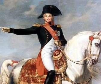 fotomontagem com napoleão bonaparte em seu cavalo
