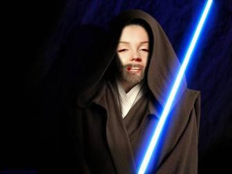 Fotomontagem de Obi Wan Kenobi nas filme Star Wars. Crie a colagem com suas fotos.