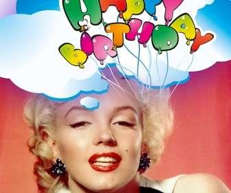 Cartão do feliz do aniversário com balões.