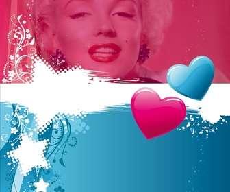 Valentine cartão postal Dois corações cor-customizáveis com uma fotografia. Editar esta fotomontagem online e de graça. Você pode guardá-lo para imprimir ou enviar por e-mail.