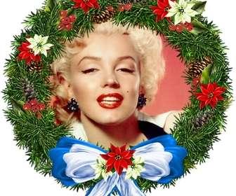 moldura fotos em forma ornamento redondo natal