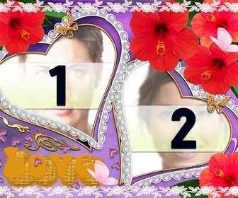 conjunto duas molduras em forma coracão flores e borboletas aparecem ideal representar o amor um parceiro violeta fundo