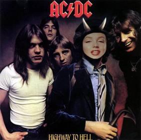 """Photomontage com a tampa de de Highway To Inferno, AC DC, Bon Scott nós  """"ll estar com chifres."""