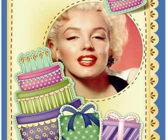 cartão aniversario com bolo e presentes efeito adesivo colocar imagem e as palavras saudacão voce preferir