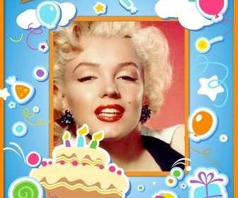 cartão aniversario felicitar o aniversario e colocar uma imagem online com um bolo balões e presentes com efeito adesivo