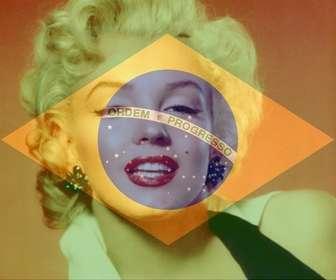 Colagem para colocar a bandeira do Brasil ao lado de sua foto online.