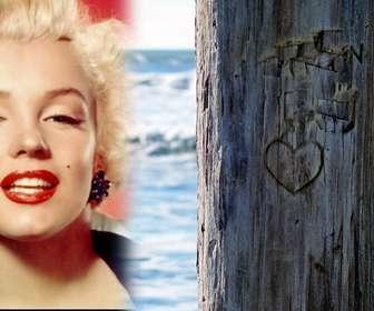 Coloque a foto que deseja lado de uma árvore onde não é esculpida de um coração. Ideal para um cartão postal.