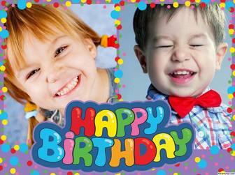 Colagem colorida e alegre do feliz aniversario a editar com duas fotos