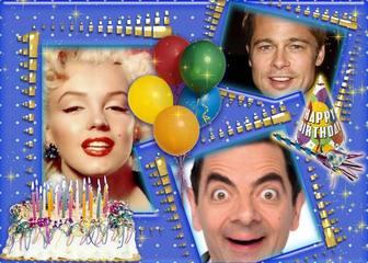 Colagem de aniversário para colocar três fotos.
