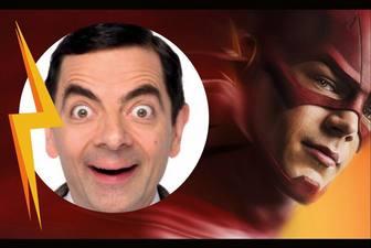 Fotomontagem com um dos super-heróis em Flash.