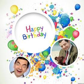 colagem colorida de comemorar um aniversário upload cartão de aniversário duas fotos