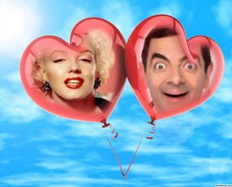 Efeito de duas fotos de dois balões em forma de coração