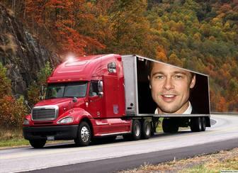 Efeito da foto de um caminhão para colocar sua foto.
