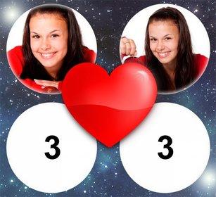 Efeito da foto do amor com um coração para 4 imagens
