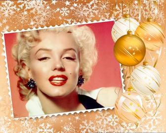 coloque sua foto em uma moldura decorada com enfeites natal