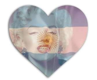 insira sua foto com bandeira da argentina com forma do coracão fundo