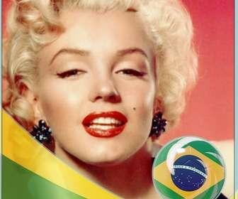 Montagem com a bandeira da Brasil para adicionar suas fotos de fundo.