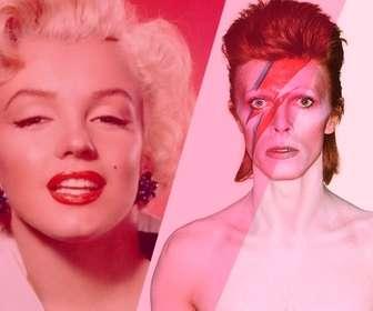 Fotomontagem com David Bowie com filtro-de-rosa para adicionar e editar suas fotos online.