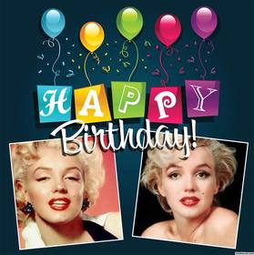 cartão editável com balões e texto colorido de HAPPY BIRTHDAY
