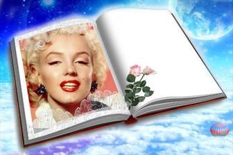 Fotomontagem para colocar sua foto em um livro com duas rosas.