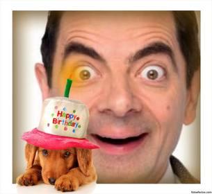 Felicite com este cartão de aniversário com um filhote de cachorro efeito