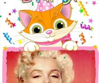 Moldura de foto que inclui uma fotografia, que aparece gato desenhado. feita para usar como cartão de aniversário .