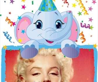 Cartão de aniversário em que irá incluir uma fotografia realizada por um elefante azul. Fundo partidário.