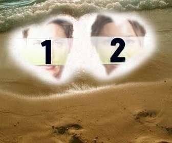 criar um cartão postal o dia namorados on-line personalizado  fundo duas fotoscom dois coracões na areia da praia uma moudura