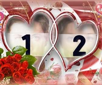 quadro imagem muito elaborada com rosas e coracões