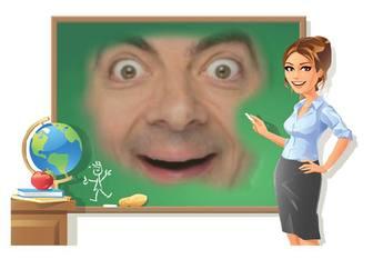 Efeito para adicionar sua foto em um quadro ao lado de um professor de escola