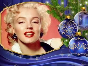 coloque sua foto ao lado deste cartão natal com enfeites