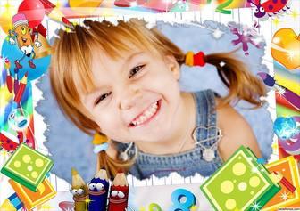 Frame das crianças editável com desenhos bonitos para adicionar um efeito Foto Foto