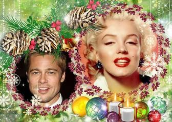 Frame do Natal para duas fotos colocadas em um guirlandas roxas.
