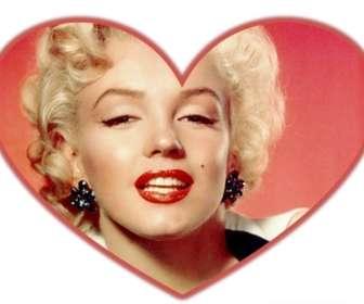 Máscara de fotos com formato de coração e borda vermelha que você pode adicionar uma imagem de fundo.
