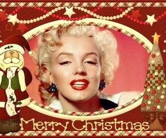 cartão natal do vintage com o papai noel colocar sua foto