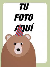 moldura foto aniversario com um urso