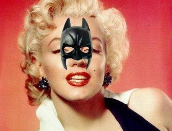 Etiqueta com super-herói Batman máscara.