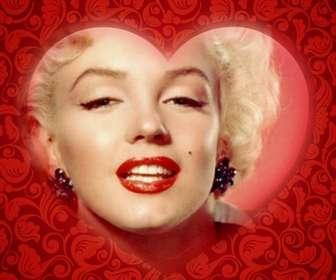 Cartão romântico com um coração para personalizar sua foto com uma moldura vermelha e adicionar texto.