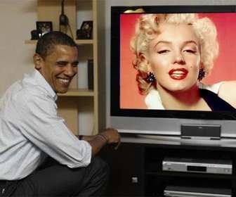 fotomontagem colocar barack obama com sua foto onde o presidente aparece em uma televisão ao lado dela
