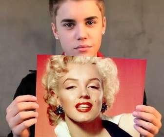 Fotomontagem com Justin Bieber com o cabelo curto segurando sua foto.