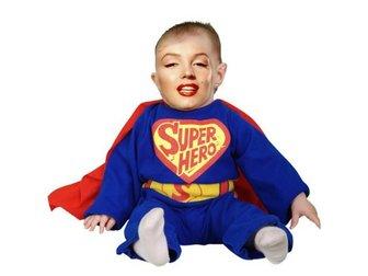 Vestir o seu bebê com este fotomontagem concurso de super-herói azul com capa vermelha.