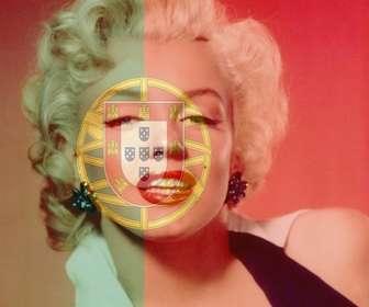 colagem colocar bandeira portugal misturado com uma imagem fundo