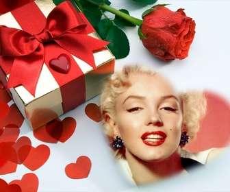 cartão amor em um presente coracões e uma rosa voce pode colocar sua foto um coracão